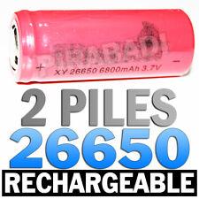 2 PILES ACCUS RECHARGEABLE BATTERIE 26650 6800mAh 3.7V Li-ion BATTERY