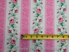 Julia's Garden Roses Flowers Strip Border Pink BY YARDS Northcott Cotton Fabric