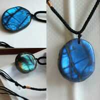 Natural Labradorite Moonstone Pendant Crystal Necklace Healing Stone Jewelry Acc