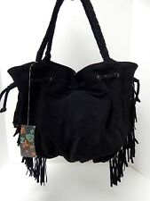 New Z&L Zudor Black Suede Leather Boho Fringe Shoulder Bag nwt