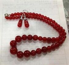 Excellent 6-14mm Red Ruby Gemstone Necklace 18''+Earring JN375