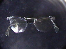 Cool Vintage 50s glass frames glasses prescription black & silver tone