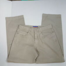 Faconnable Mens Chinos Beige Flat Front Khakis Trousers Cotton Pants 36 x 31
