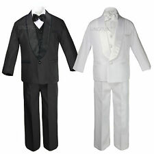 Baby Kid Teen Wedding Black White Pick Formal Shawl Lapel Tuxedo Boy Suit S-20
