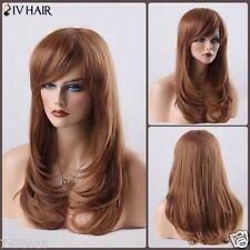 100% Real Hair! Brown Long Layered Tail Adduction Side Bang Human Hair Wig