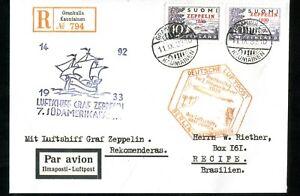 1933 FINLAND SUOMI  Zeppelin cover #1   REPLICA