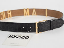 New Moschino Redwall Black Croc-Embossed Leather Belt Size EU 44