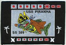 USS Piranha SS 389 - Battleflag BC Patch Cat No c6292