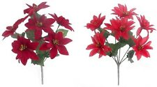 30cm POINSETTIA RED Flower Bouquet Christmas Ivy Fern Festive Winter 7 Heads