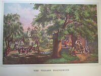 Vintage Currier & Ives America Color Print, The Village Blacksmith