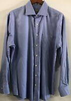 Peter Millar Mens Houndstooth Dress Shirt Nanoluxe Blue Large Barrel Cuffs Mint