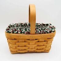 Longaberger Medium Rectangle Basket 9x5x4 Traditional Holly w plastic liner