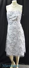 Davids Bridal knee Cocktail Dress white net tulle black floral 1568 strapless 10