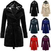 da donna giacca invernale cappuccio trench lana Blend LUNGO CAPPOTTO CAPISPALLA