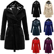 FEMME CHAUD HIVER à capuche fashion manteau laine mélanges long veste extérieur
