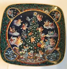 """Franklin Mint Heirloom """"Trimmed to Purr-fection"""" Bill Bell Porcelain Plate Cats"""