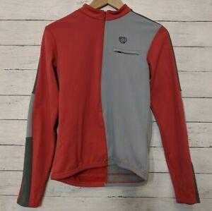 Pearl Izumi Long Sleeve Cycling Jersey Red Gray Half Zip Womens Medium EUC