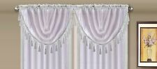 AMY 1PC  White  White Faux Silk Rod Pocket Swag Waterfall Dressing Valance
