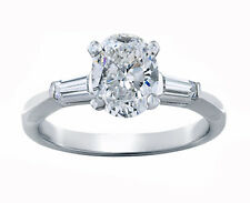 3 Stone Oval Cut Daimond Engagement Ring 1.50 Carat GIA Certified  18k Gold