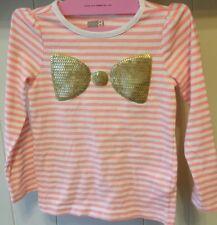 Crazy 8 girls Sparkle bow top 4 striped tee shirt  EUC 4T long sleeve orange XS