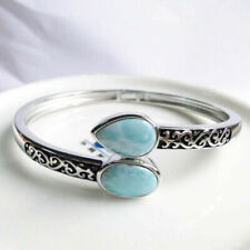 High Quality Dominica Natural LARIMAR GEMSTONE Solid S925 Women Bangle Bracelet