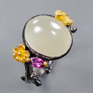 gemstone jewelry Aquamarine Ring Silver 925 Sterling  Size 9 /R172335