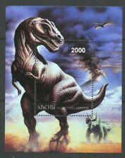 T-Rex Dinosaur Trannosaurus Rex mnh Souvenir Sheet Abkhazia Triceratops