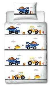 TRAUMHELDEN Bagger & LKW Baby/Kinder Bettwäsche in Flanell/Biber 40x60 100x135