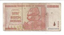 ZIMBABWE 50 BILLION DOLLARS 2008 circulated F.10 20 100 TRILLION.$50,000,000,000