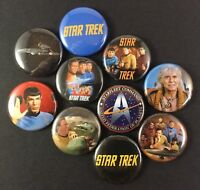 "Star Trek 1"" Button Pin Lot Classic Spok Khan Captain Kirk"