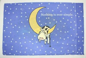 Vintage RARE Sandra Boynton STD Pillowcase Nothing Is Ever Simple '90 Martex Cow