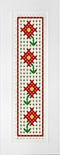 "Childrens 6 count cross stitch ""Red Flowers"", Bookmark"