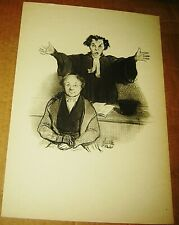 HONORE DAUMIER LITHOGRAPH LAW & JUSTICE BOOK PRINT SIGNED LAWYER FRENCH 10X14 7