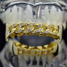 Cuban CZ Fang Grillz Set 14k Gold Plated Cubic Zirconia Top & Bottom Teeth Fangs