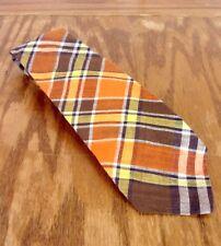 "vtg Rooster Men's Bright Colorful Plaid 100% Indian Madras Tie Necktie 56"" 3"""