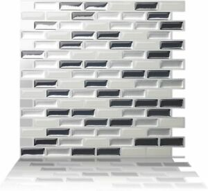 Tic Tac Tiles Self Adhesive Tile Stickers Wall Sticker Kitchen(Brick Metal Gray)