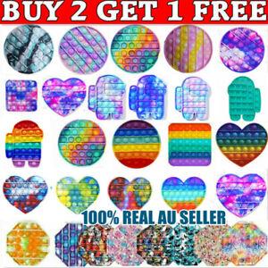 Pop It Its Fidget Round Square Toy Push Rainbow Bubble Stress Relief Tiktok NEW!