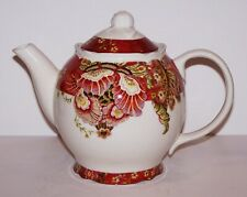STUNNING 222 FIFTH FINE CHINA GABRIELLE RED TEAPOT & LID