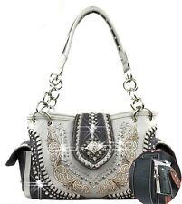 Montana Rhinestone Accented Embroidery Design Gun Concealment Western Handbag