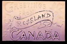 c.1912 glitter trimmed greetings from Rossland Canada postcard