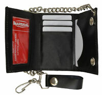 Mens Genuine Leather Black Trifold CardI D Wallet/Chain Biker Trucker Motorcycle