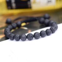 Natural Rock Lava Stone Beaded Yoga Bracelets Mala Energy Adjustable Bracelets