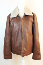 UGG MEN'S AVIATOR SHEARLING CUFF COLLAR LEATHER JACKET COAT ESPRESSO Size Medium