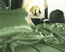 Queen Satin Lingerie Charmeuse Bed Sheet Set Sage/Green