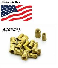 100pcs  Brass Knurl Nuts M4*4mm(L)*5mm(OD) Metric Threaded Nuts Insert Round