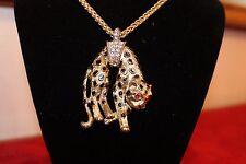 Kenneth Jay Lane Cougar Pendant with Swarovski Crystals Necklace KJL