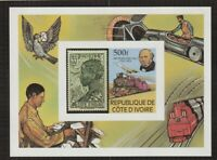 IVORY COAST 1979 ROWLAND HILL CENTENARY 500F M/SHEET IMPERFORATE MNH