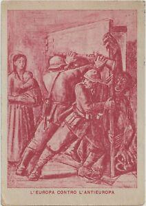 ITALY FASCIST PROPAGANDA EUROPE AGAINST ANTI-EUROPE.POSTAL STATIONERY CARD COVER