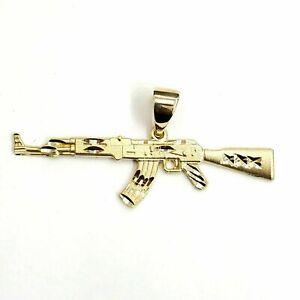 14k yellow Gold AK-47 machine gun military rifle Pendant charm fine gift 3.6g