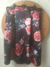 """🌸New M & S Collection 22 Length 33"""" Black Floral Heavy Satin Skirt RRP £49.50🌸"""
